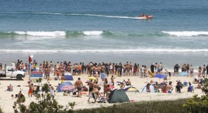 Beachgoers watch from the safety of the sand as lifesavers coerce a shark back out to sea