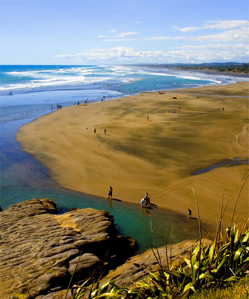 SHARK ATTACK: Auckland's Muriwai Beach, where the fatal incident took place.